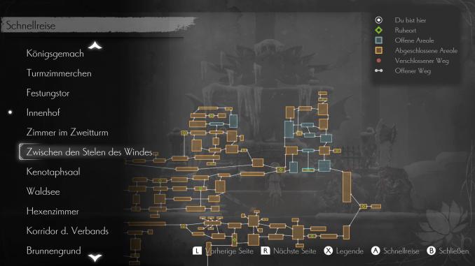 Das Bild zeigt die Map von Ender Lilies: Quietus of the Knights