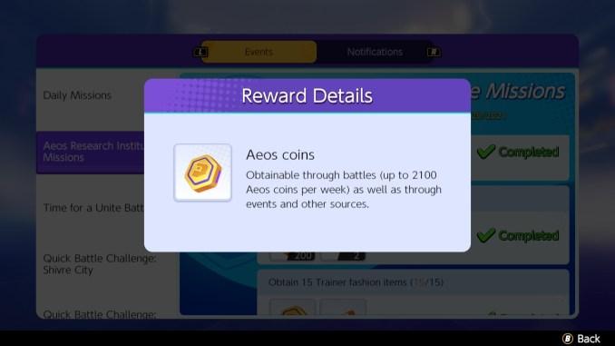 """Dieses Bild zeigt das Design der Aeos Coins aus dem MOBA """"Pokémon Unite"""". Außerdem ist ein Erklärungstext zu sehen."""