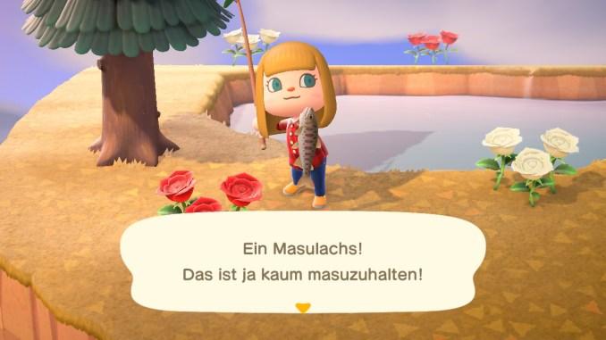 """Das Bild zeigt den Masulachs, der nur noch im November in """"Animal Crossing: New Horizons"""" fangbar ist."""