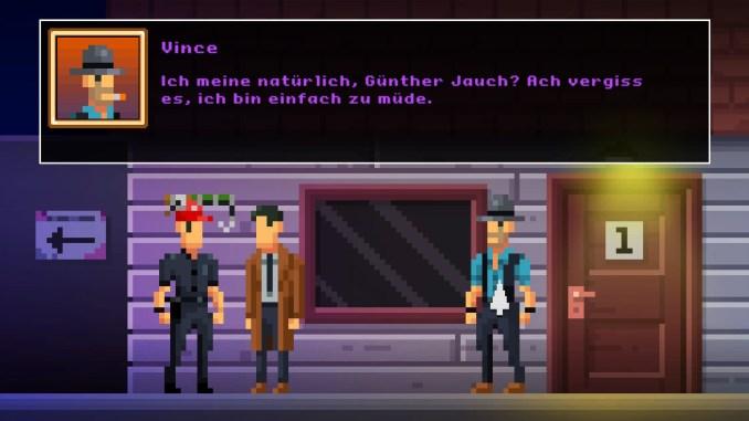 """Auf diesem Bild des Spiels """"The Darkside Detective"""" sind drei Personen vor einer Tür zu sehen (mit Textbox)."""