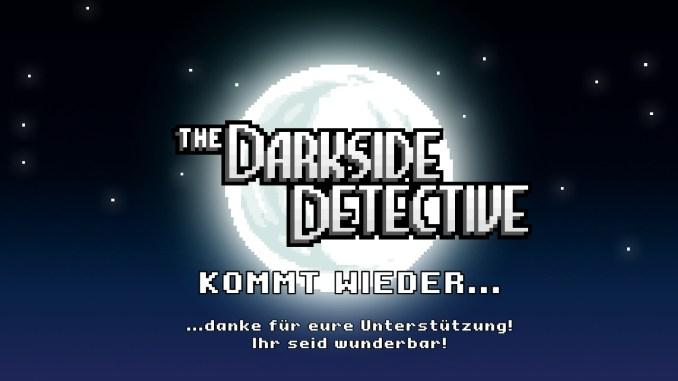 """Auf diesem Bild des Spiels """"The Darkside Detective: A Fumble in the Dark"""" ist ein großer Text mit dem Spieltitel zu sehen."""