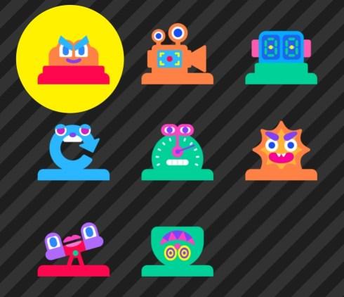 """Das Bild zeigt eine kleine Auswahl der verfügbaren Knotixe in """"Spielestudio""""."""