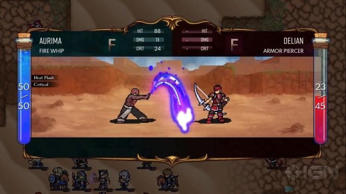 """Das Bild zeigt eine Kampfanimation in """"Dark Deity""""."""