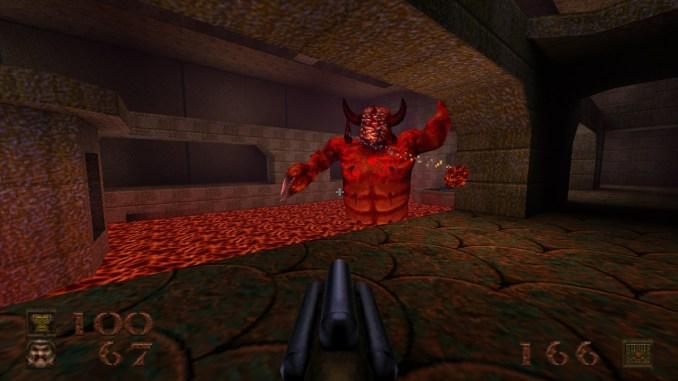 """Auf diesem Screenshot des Spiels """"Quake"""" ist ein Monster in einem Lavapool zu sehen."""