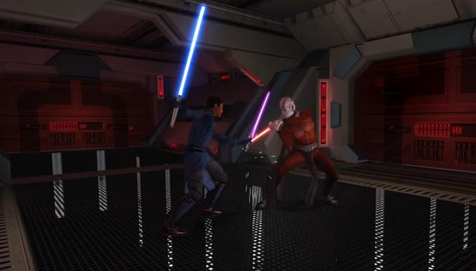 """Das Bild zeigt einen Lichtschwertkampf in """"Star Wars: Knights of the Old Republic""""."""