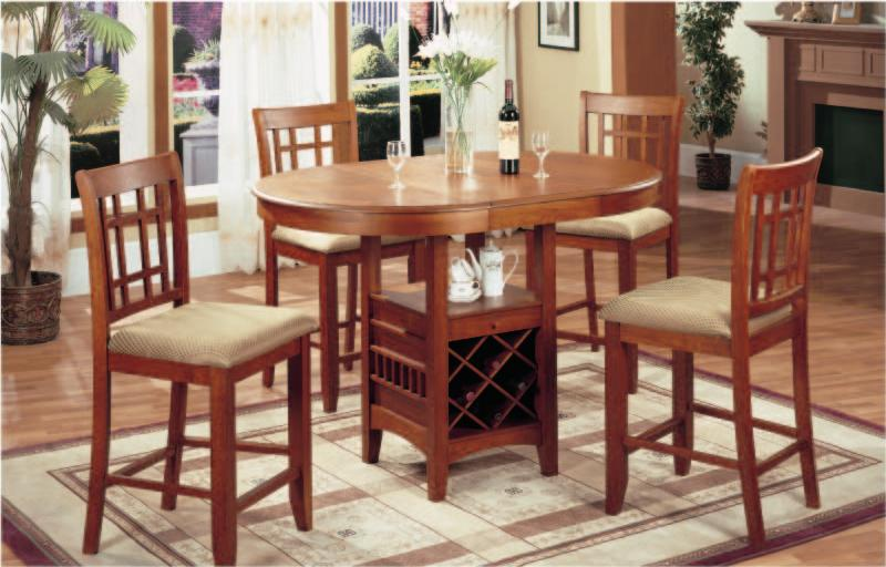 5 pc pub table with wine rack
