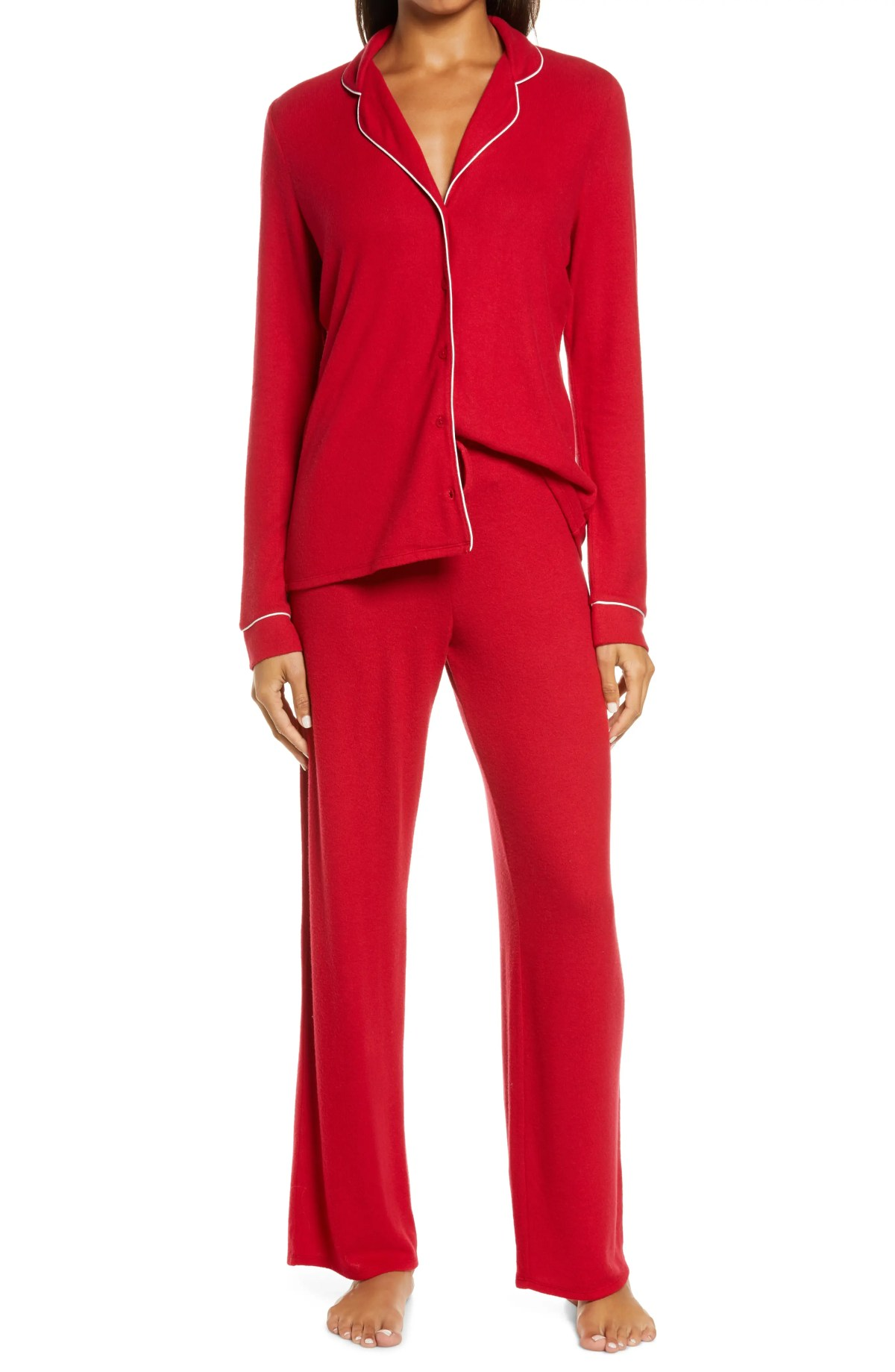 NORDSTROM Brushed Hacci Pajamas, Main, color, RED CHILI