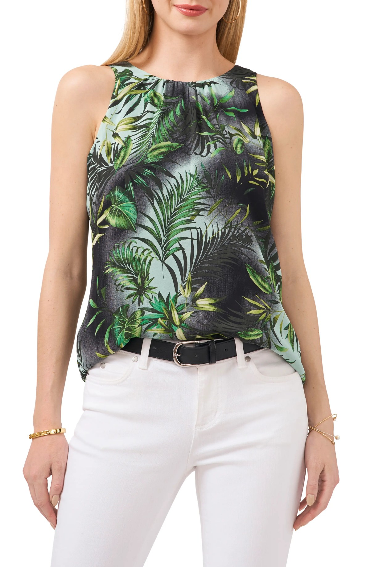 VINCE CAMUTO Palms Sleeveless Blouse, Main, color, RICH BLACK
