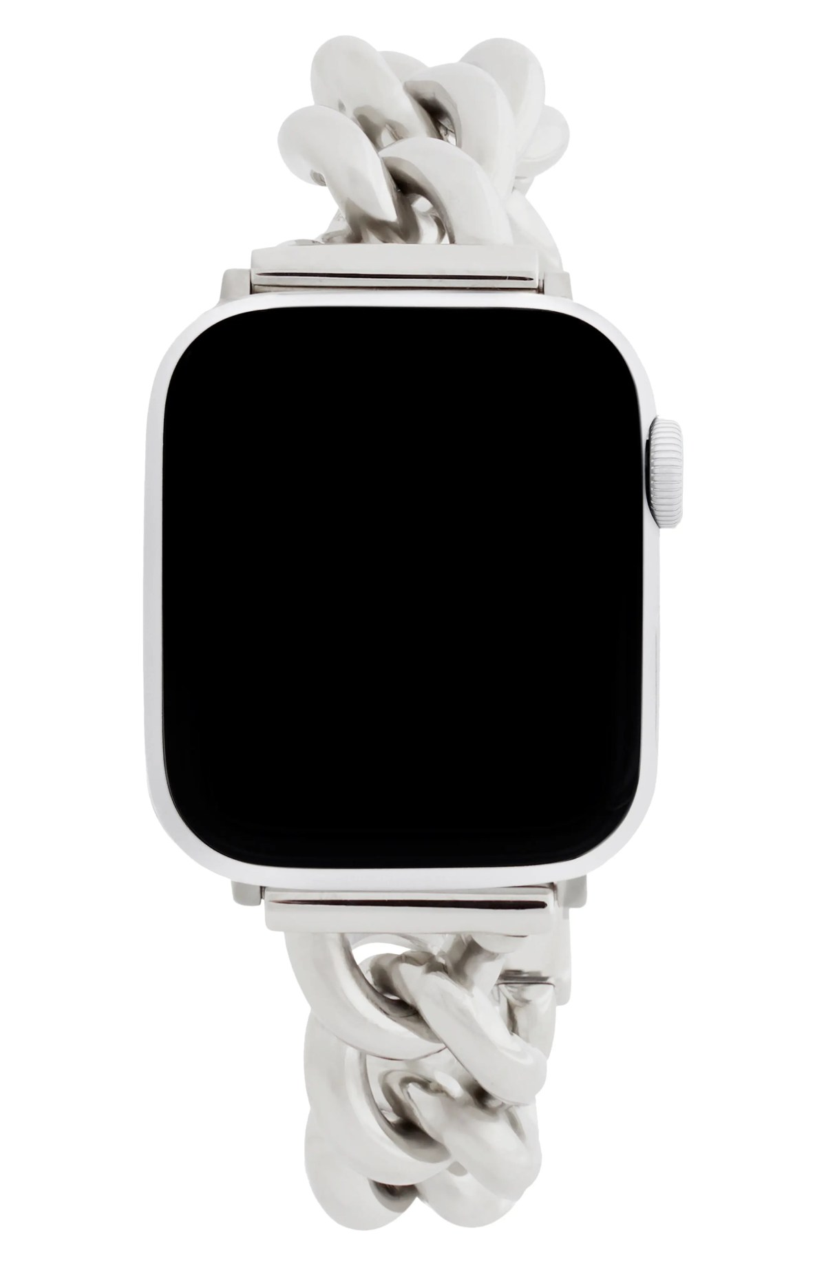 REBECCA MINKOFF Curb Link Apple Watch<sup>®</sup> Bracelet Strap, Main, color, SILVER