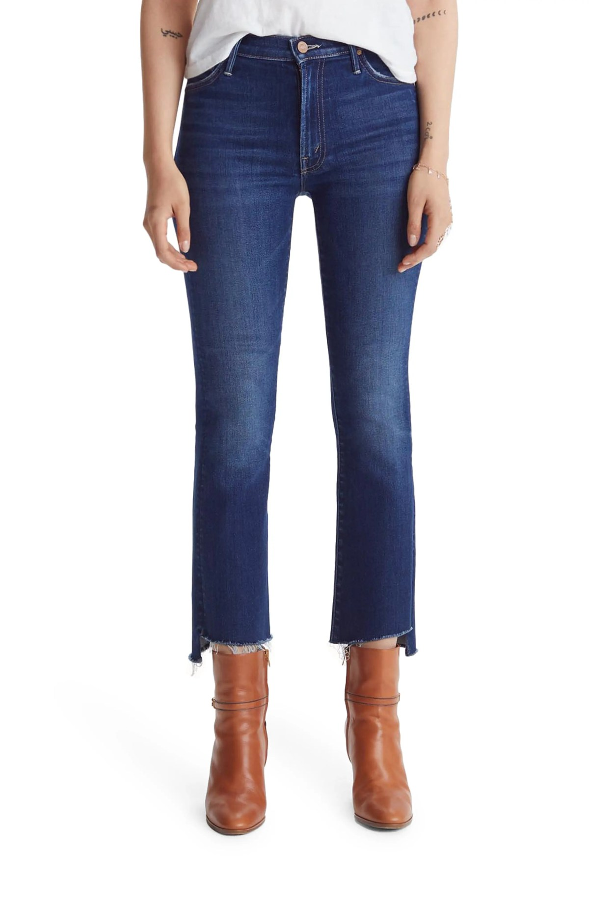 MOTHER The Insider High Waist Crop Step Fray Jeans, Main, color, HOME MOVIES