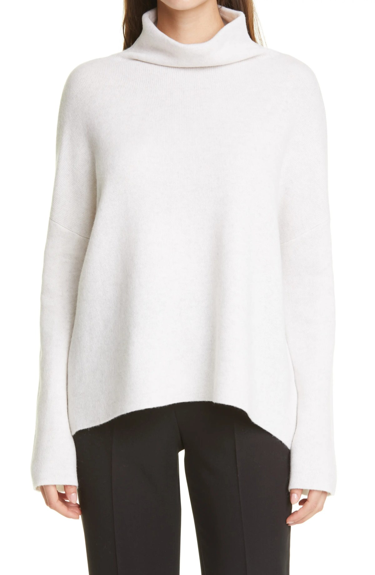 VINCE Mock Neck Stretch Wool & Cashmere Sweater, Main, color, HEATHER WHITE
