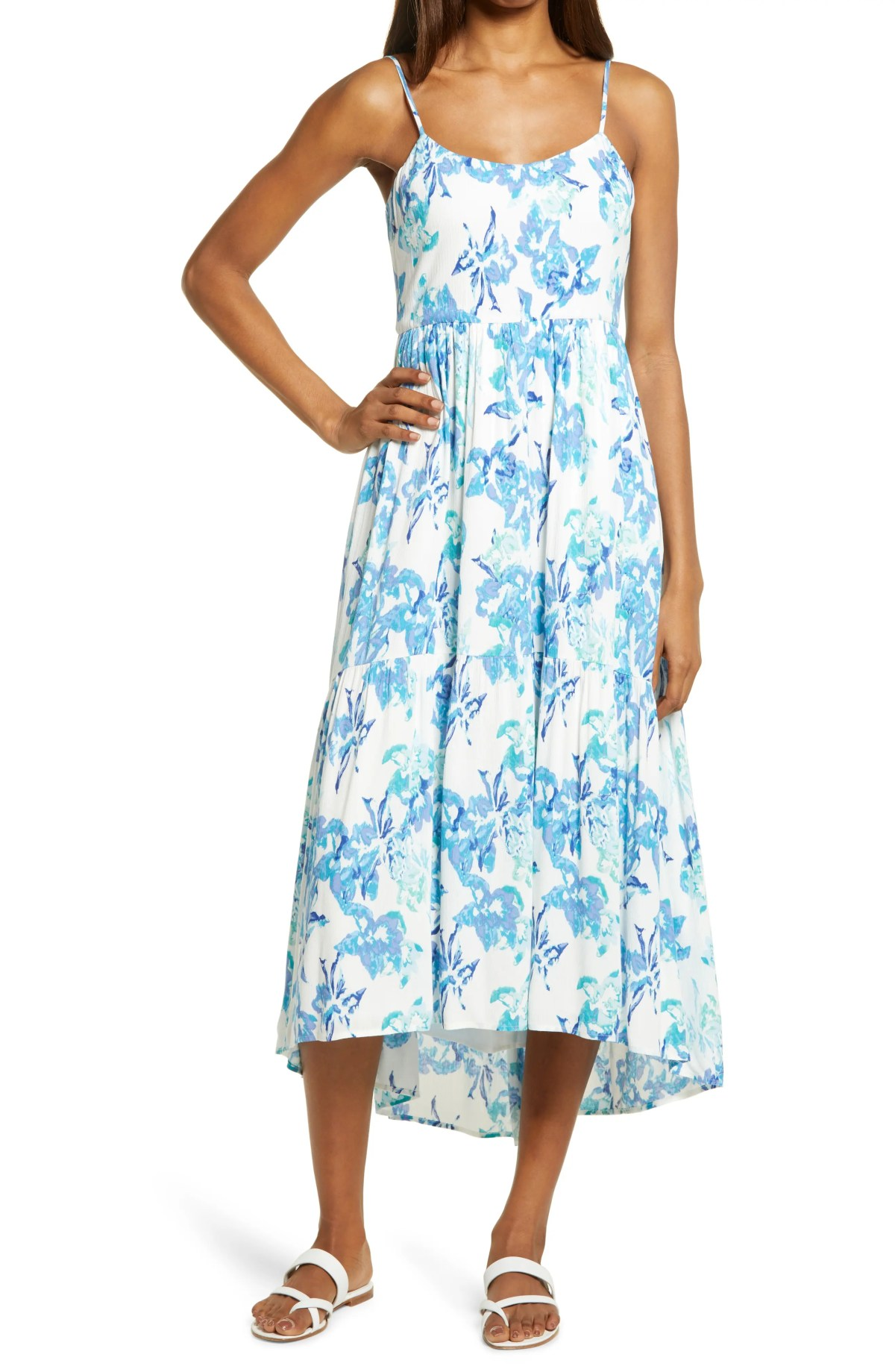 CHARLES HENRY Floral High/Low Tiered Sundress, Main, color, IVORY WATERCOLOR FLORAL