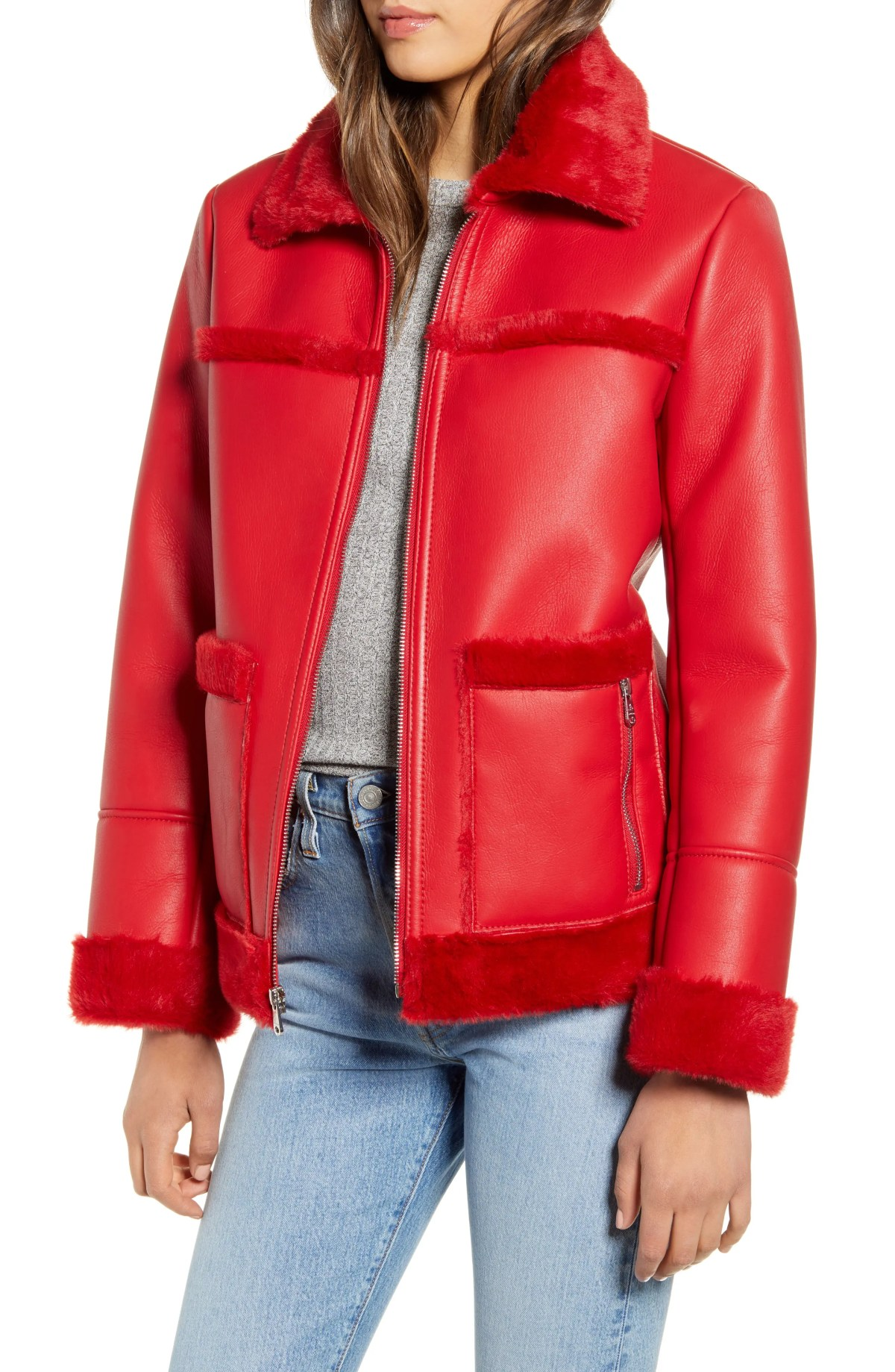 SAM EDELMAN Faux Fur Trim Faux Leather Jacket, Main, color, RED