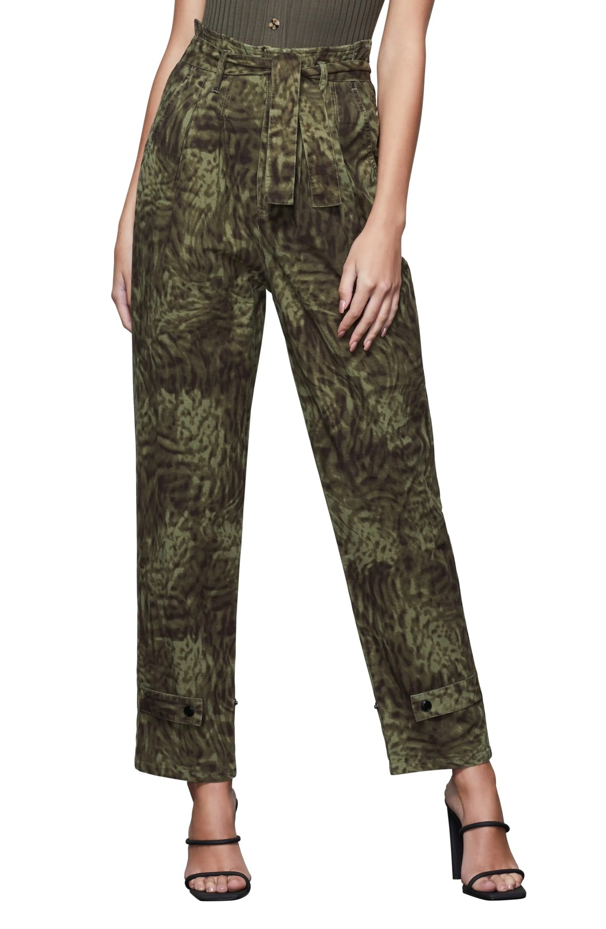 GOOD AMERICAN Upgrade Paperbag Waist Ankle Trousers, Main, color, JUNGLE