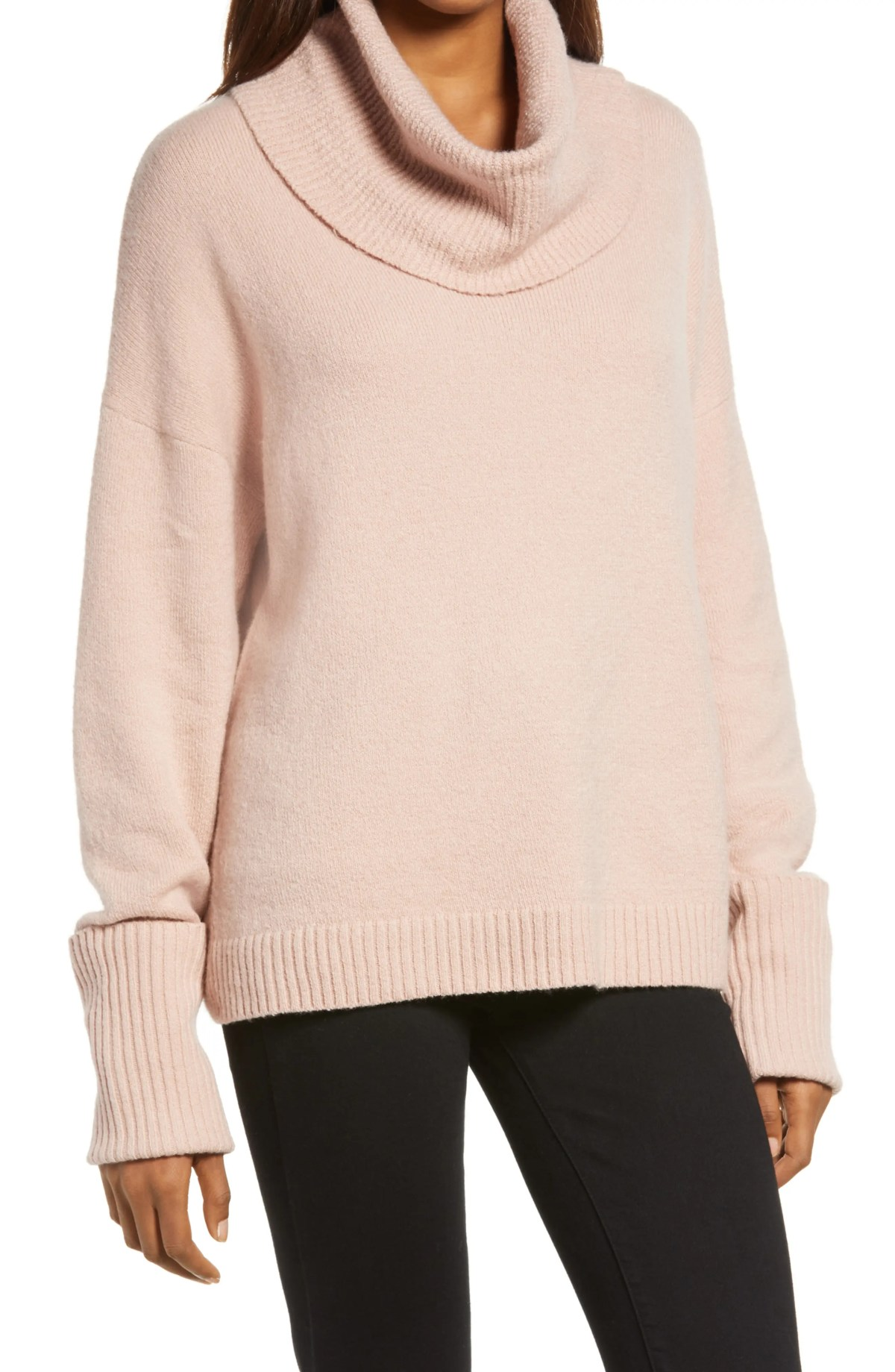 CHELSEA28 Cowl Neck Sweater, Main, color, PINK ADOBE