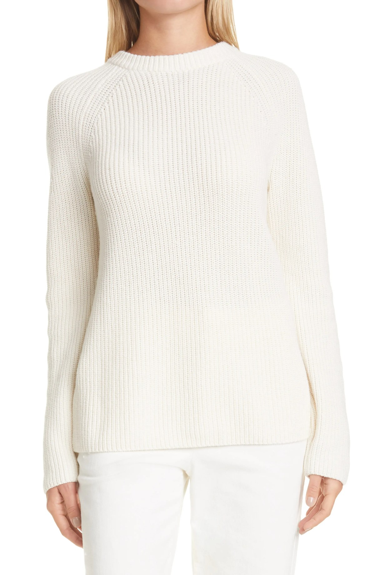 VINCE Cotton & Cashmere Crewneck Sweater, Main, color, IVORY