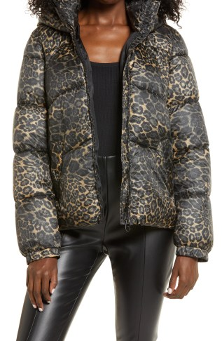 VERO MODA Upsala Animal Print Hooded Puffer Jacket, Main, color, TIGERS EYE