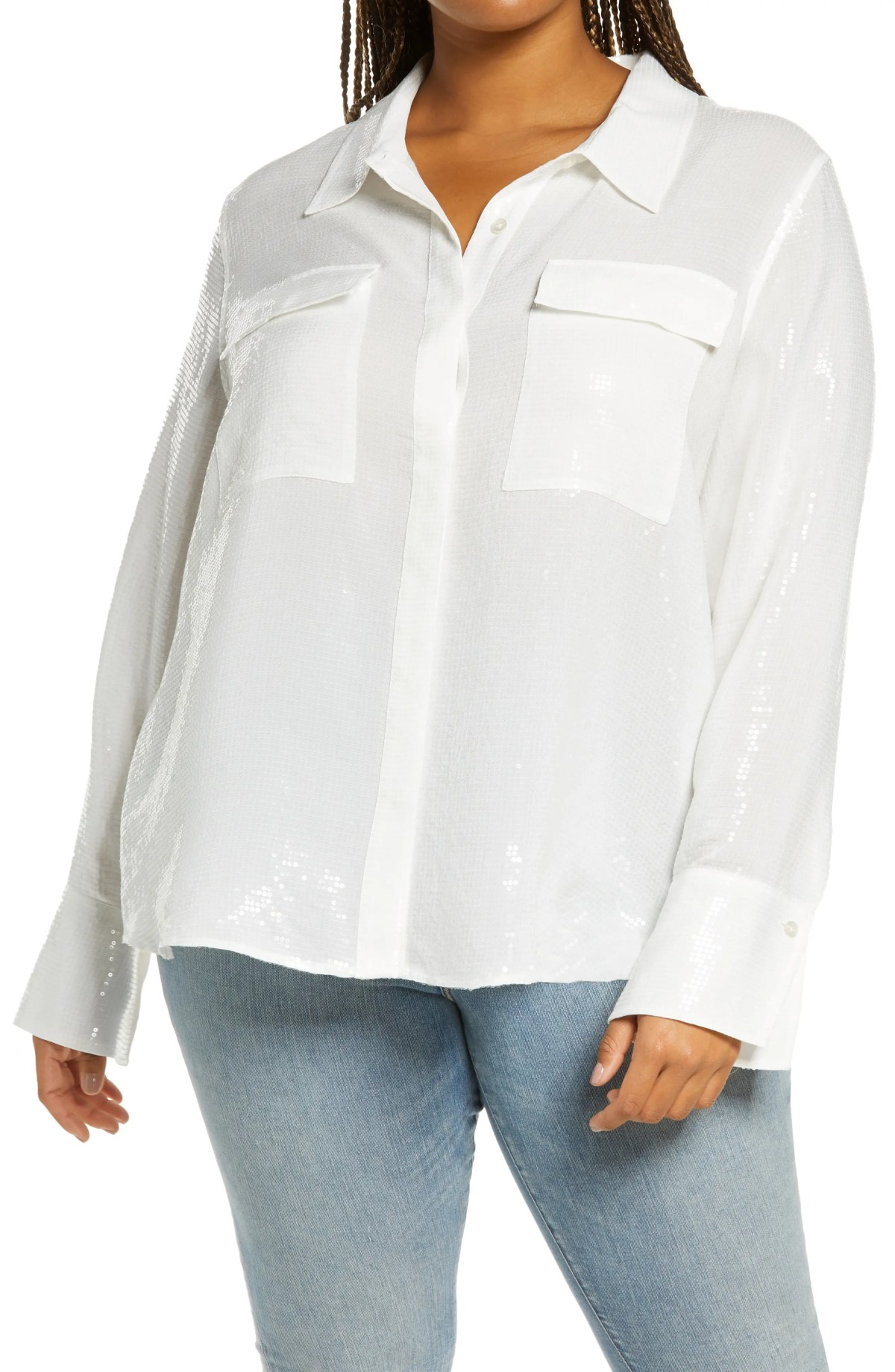GOOD AMERICAN Sequin Sheet Button-Up Shirt, Main, color, IVORY001