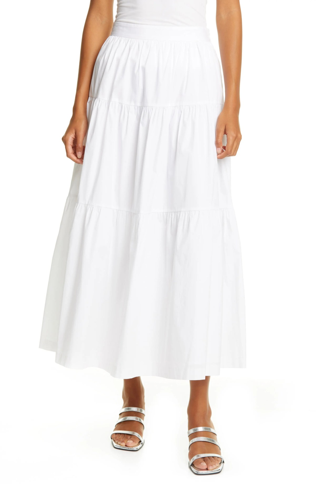 STAUD Tiered Stretch Cotton Maxi Skirt, Main, color, White