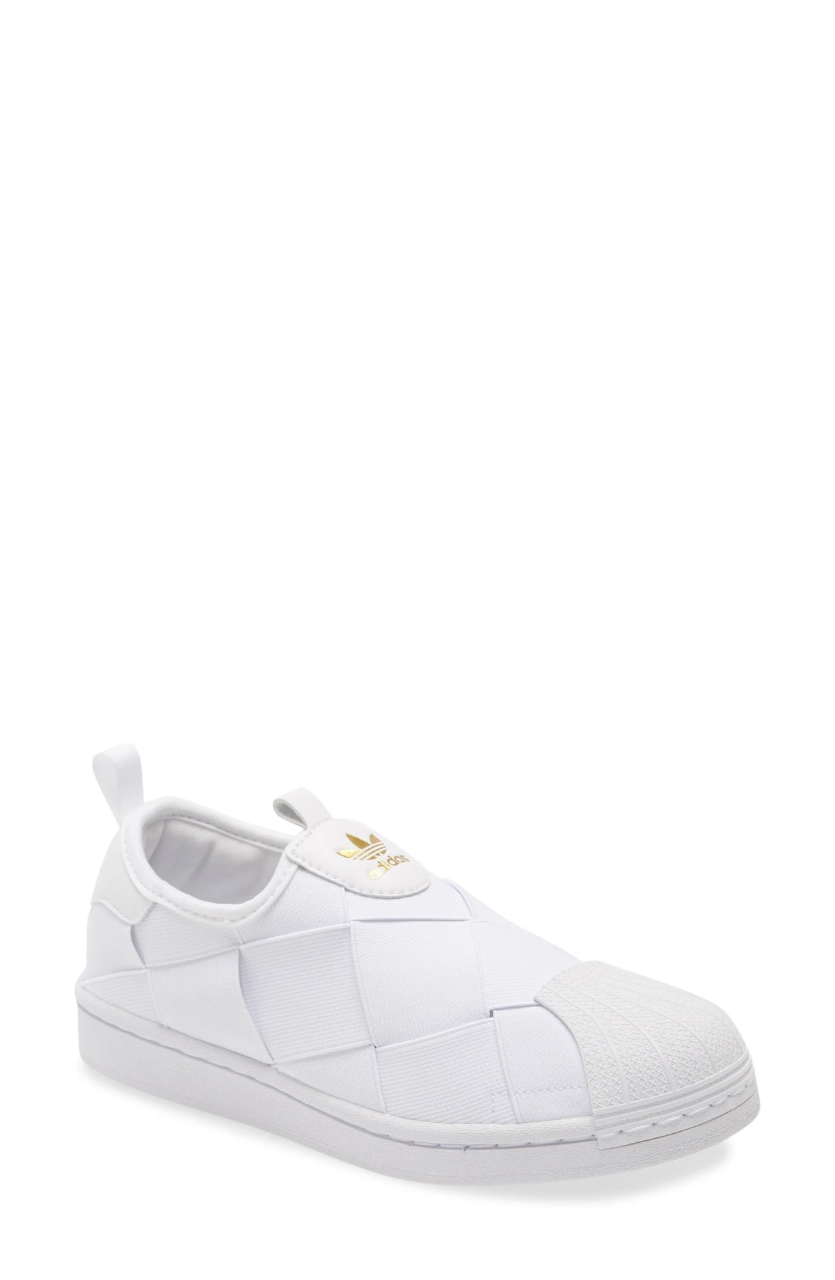 ADIDAS Superstar Slip-On Sneaker, Main, color, WHITE/ WHITE/ GOLD