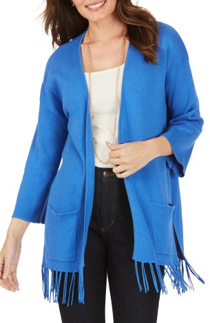 FOXCROFT Flora Fringe Hem Open Cotton Blend Cardigan, Main, color, AZUL