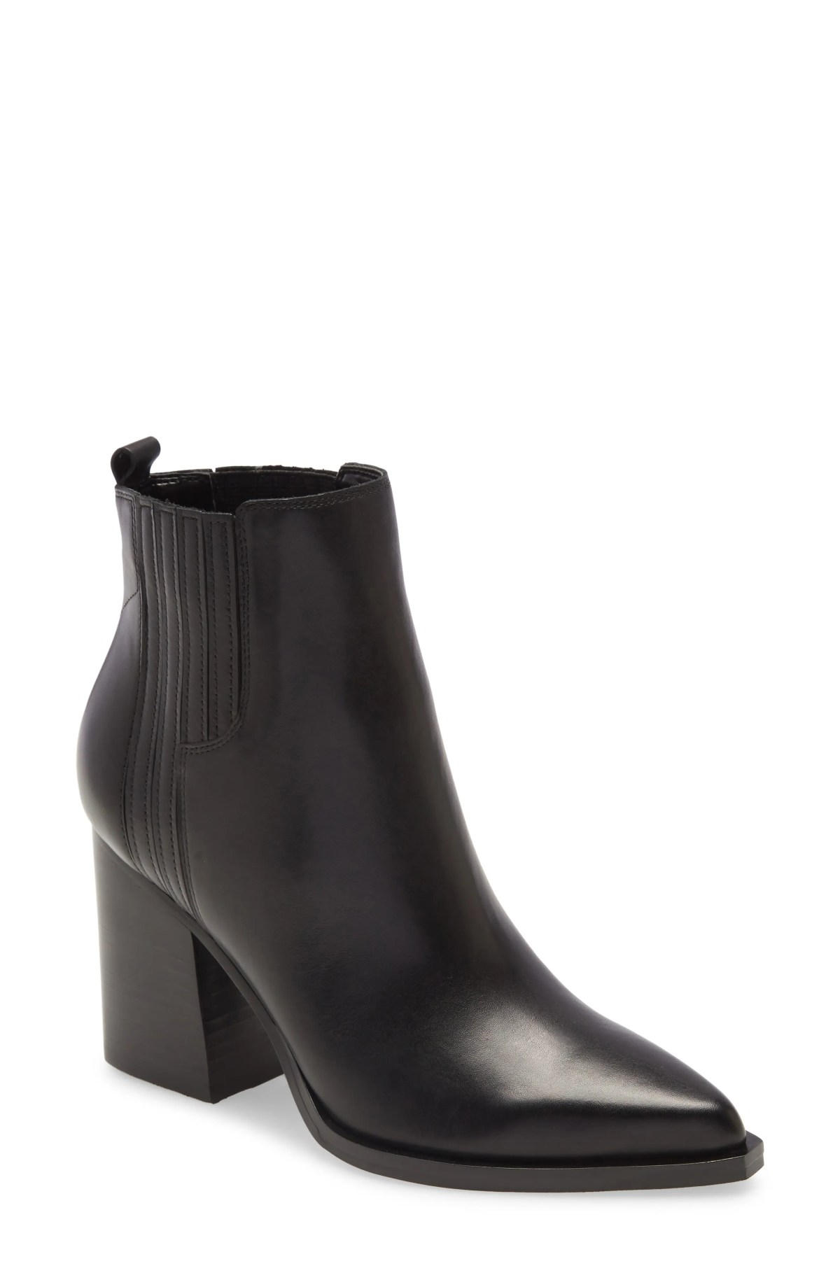 MARC FISHER LTD Oshay Pointed Toe Bootie, Main, color, BLACK LEATHER