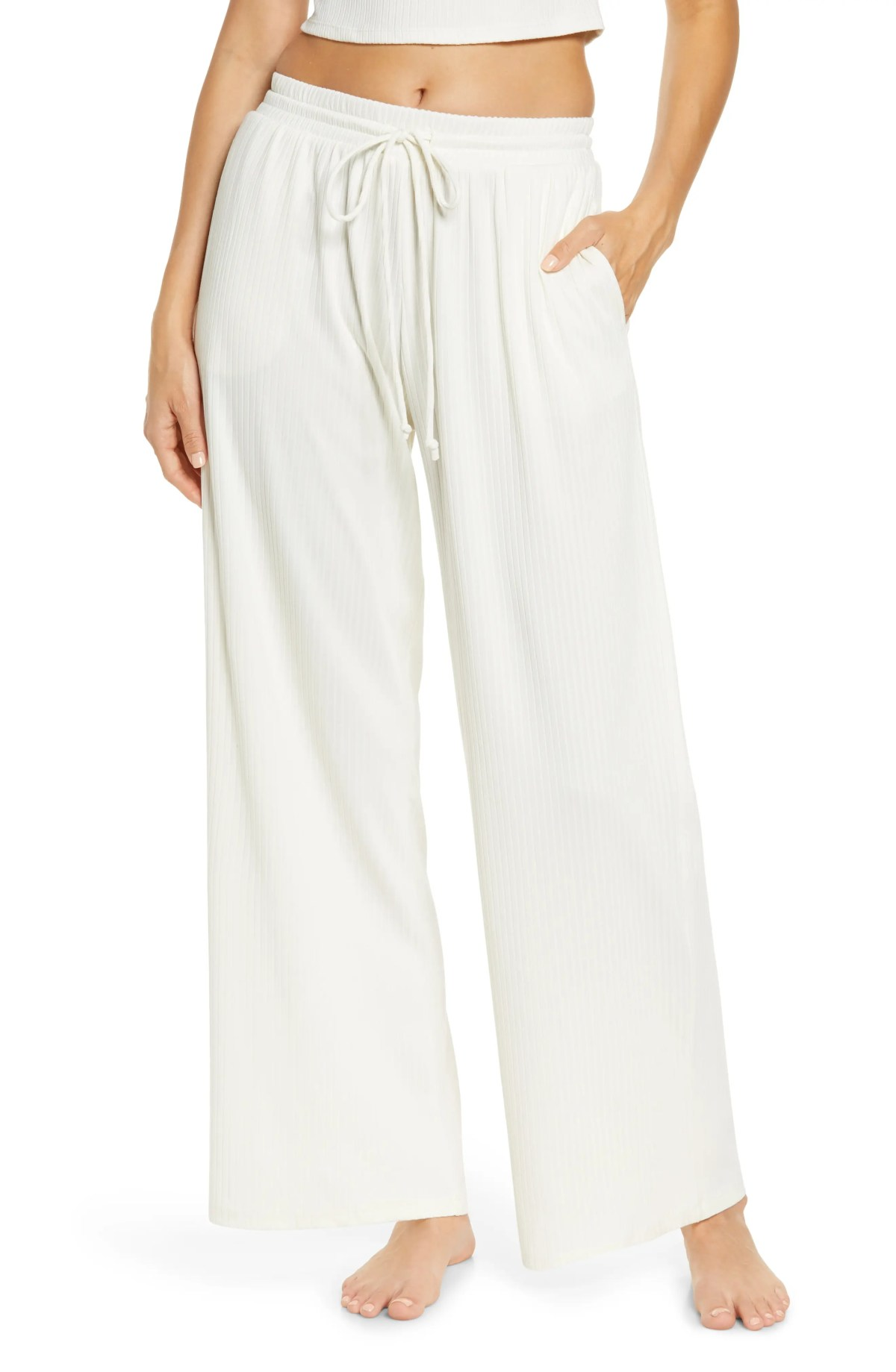 SOCIALITE Wide Leg Drawstring Pants, Main, color, IVORY