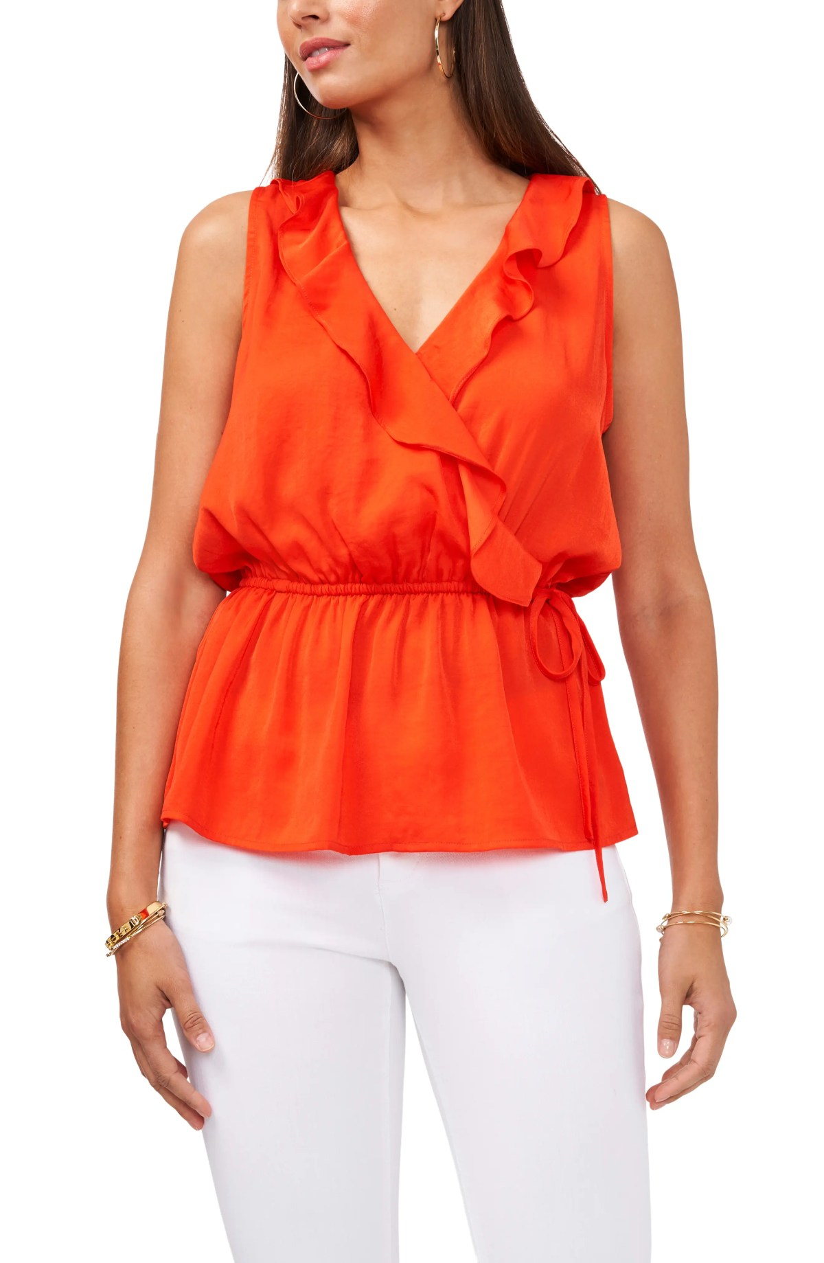 VINCE CAMUTO Ruffle Side Tie Blouse, Main, color, PASSION FRUIT