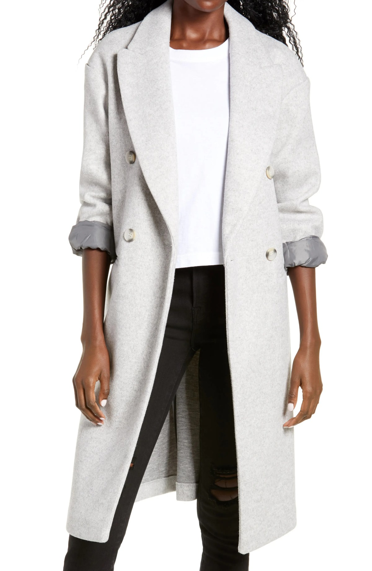 TOPSHOP Brooke Double Breasted Long Coat, Main, color, GREY