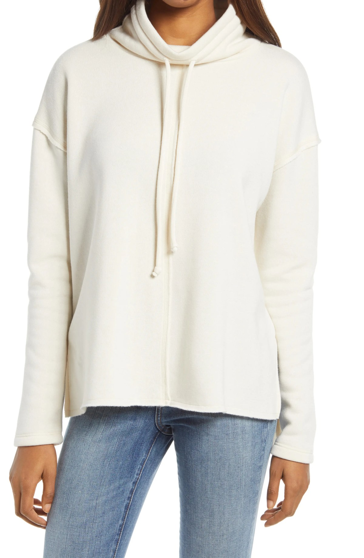 TREASURE & BOND Cowl Tie Neck Sweatshirt, Main, color, IVORY