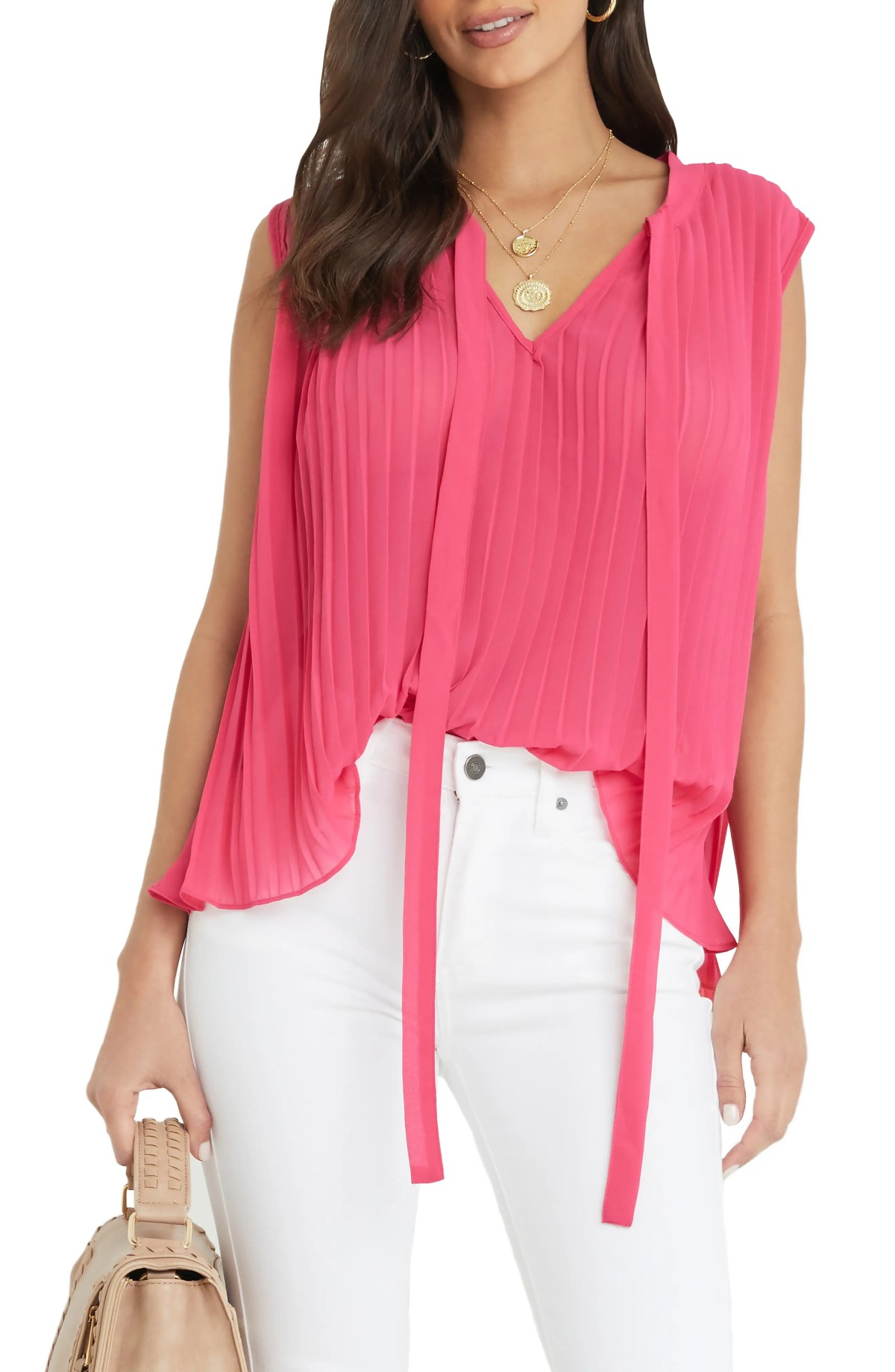 VICI COLLECTION Pleat Blouse, Main, color, HOT PINK