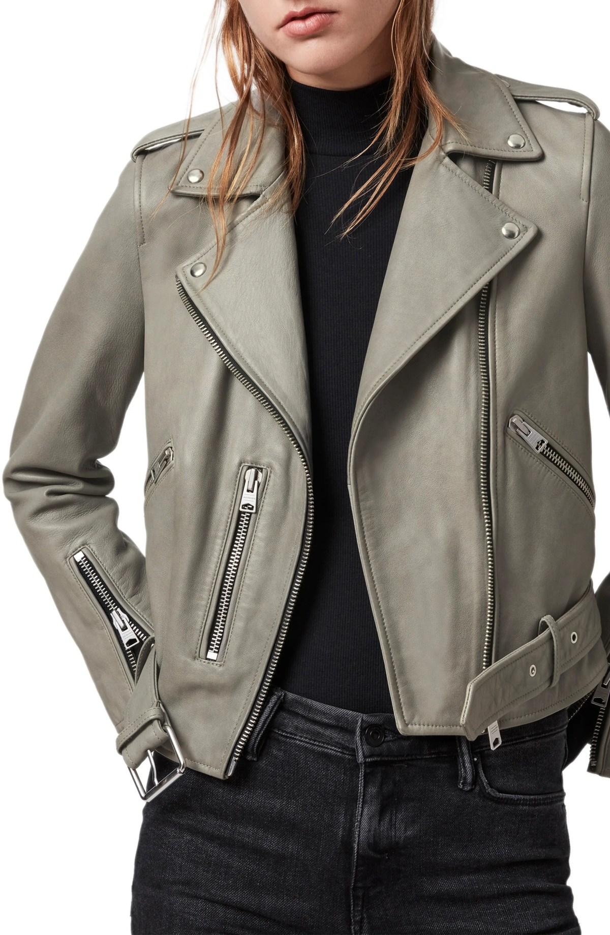 ALLSAINTS Balfern Leather Biker Jacket, Main, color, DUCK EGG BLUE