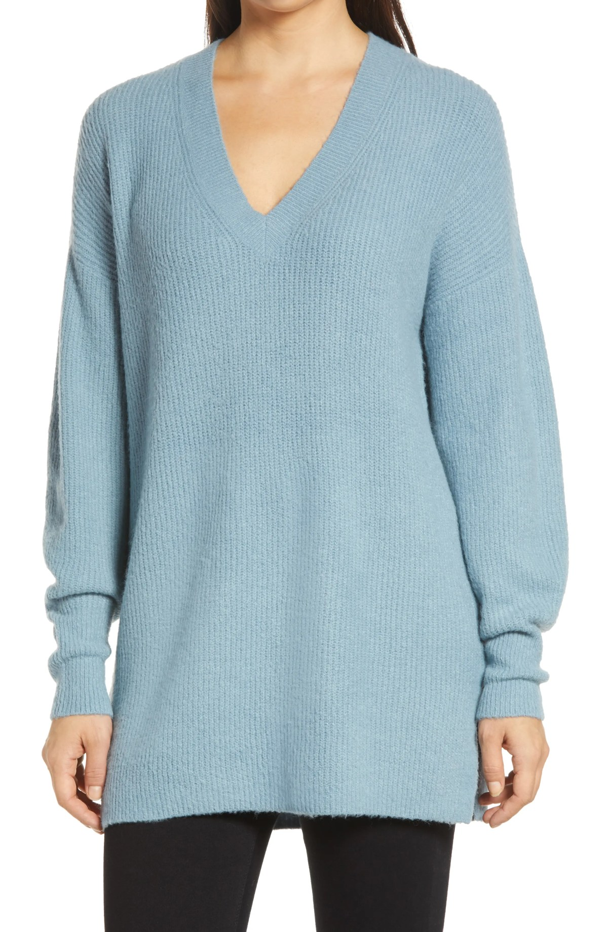 HALOGEN<SUP>®</SUP> Cozy V-Neck Tunic Sweater, Main, color, BLUE CITADEL
