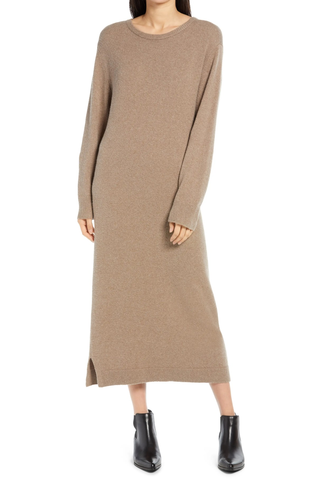 TREASURE & BOND Crewneck Long Sleeve Sweater Dress, Main, color, BROWN SHITAKE HEATHER