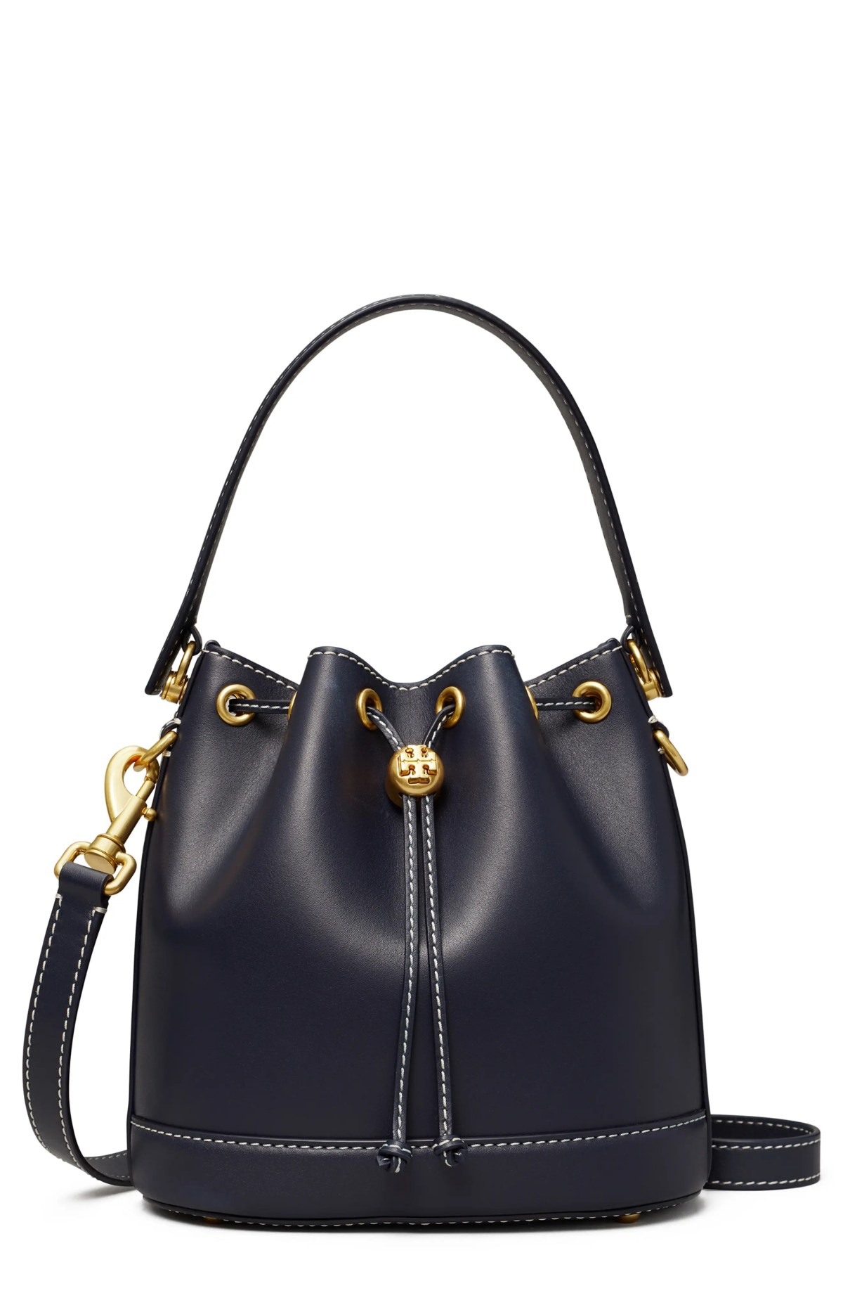 TORY BURCH T Monogram Leather Bucket Bag, Main, color, MIDNIGHT