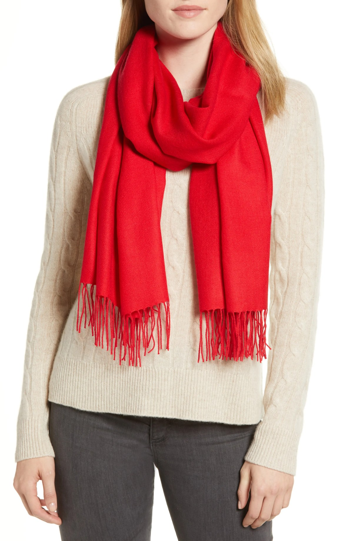 NORDSTROM Tissue Weight Wool & Cashmere Scarf, Main, color, RED CHINOISE