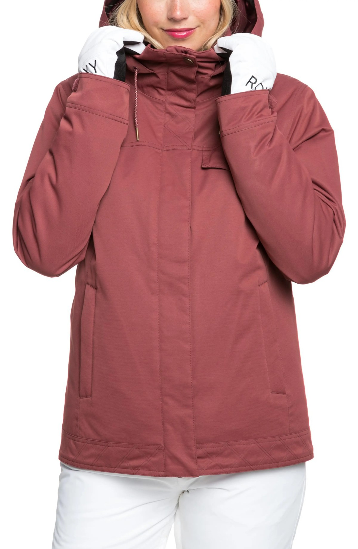 ROXY Billie Waterproof Hooded Snow Jacket, Main, color, OXBLOOD RED