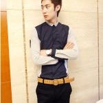เสื้อเชิ้ตผู้ชายแขนยาวเข้ารูปแนวเกาหลีแขนเสื้ออีกสี<มี2สี 3 Size>