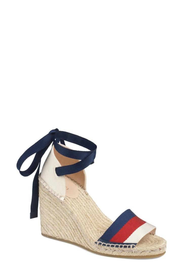 Gucci Lilibeth Sylvie Web Espadrille Wedge Sandal (Women)