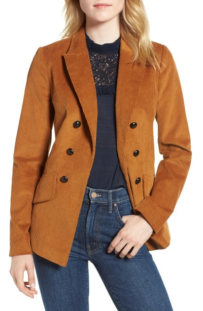 Double Breasted Corduroy Blazer, Main, color, Rust Ginger