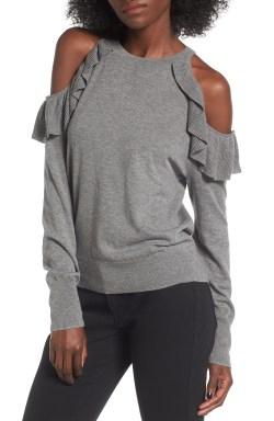 Main Image - BP. Ruffle Cold Shoulder Pullover