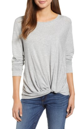 Twist Front Long Sleeve Tee,                         Main,                         color, Grey Light Heather