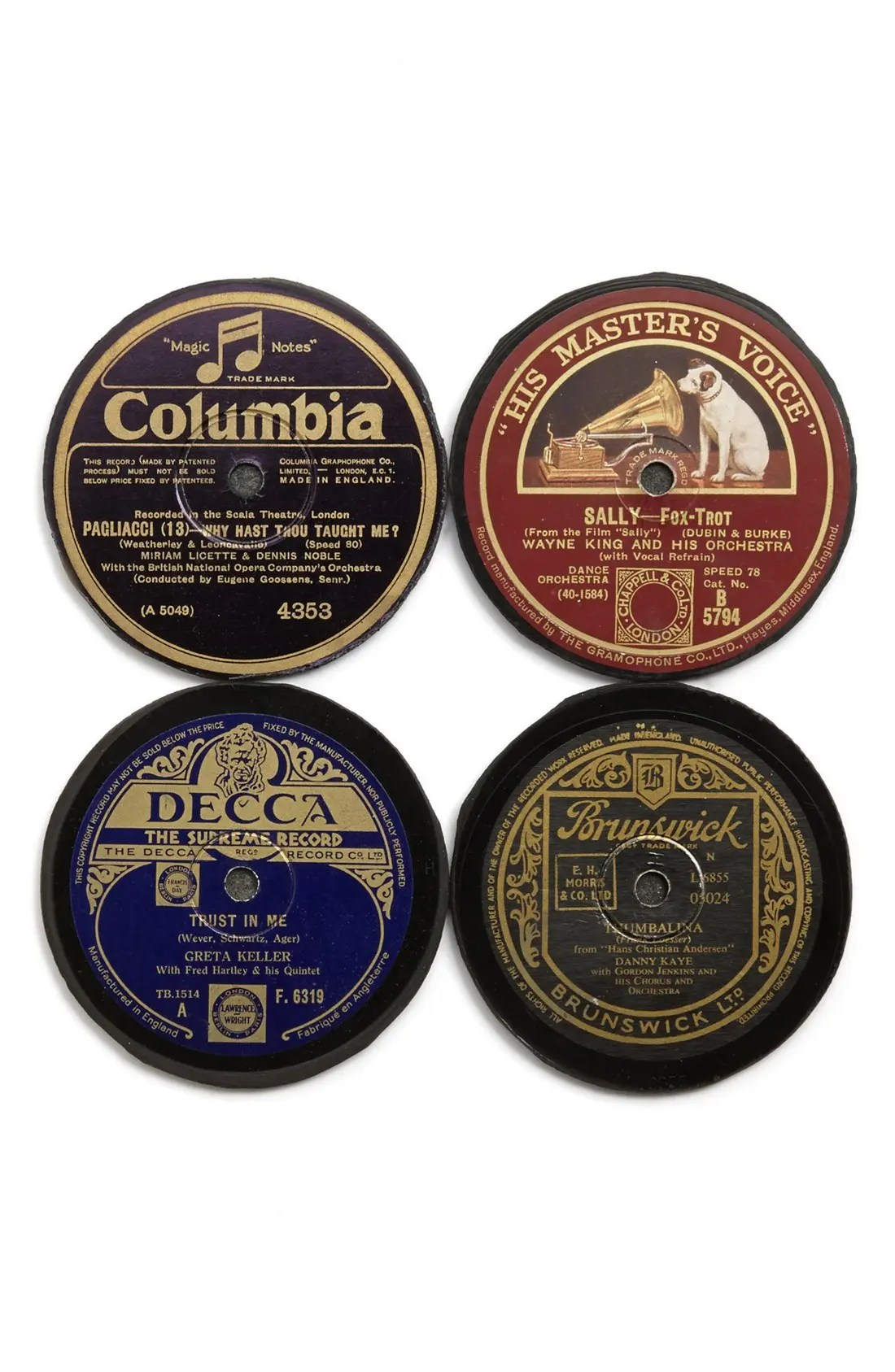 Henley Brands Repurposed Vinyl Record Coasters (set Of 4