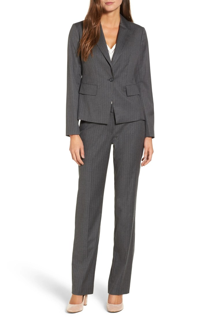 Main Image - Halogen® Pinstripe One-Button Suit Jacket (Regular & Petite)