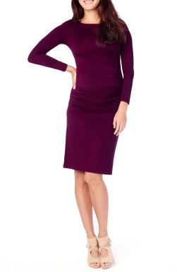 Shirred Maternity Dress,                         Main,                         color, Plum