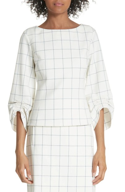 Windowpane Plaid Ruched Cuff Top, Main, color, Ivory Multi