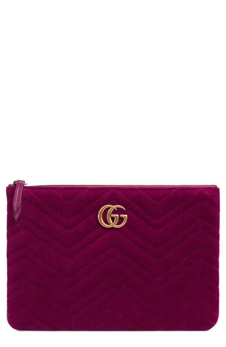 Gucci GG Marmont 2.0 Matelassé Velvet Pouch