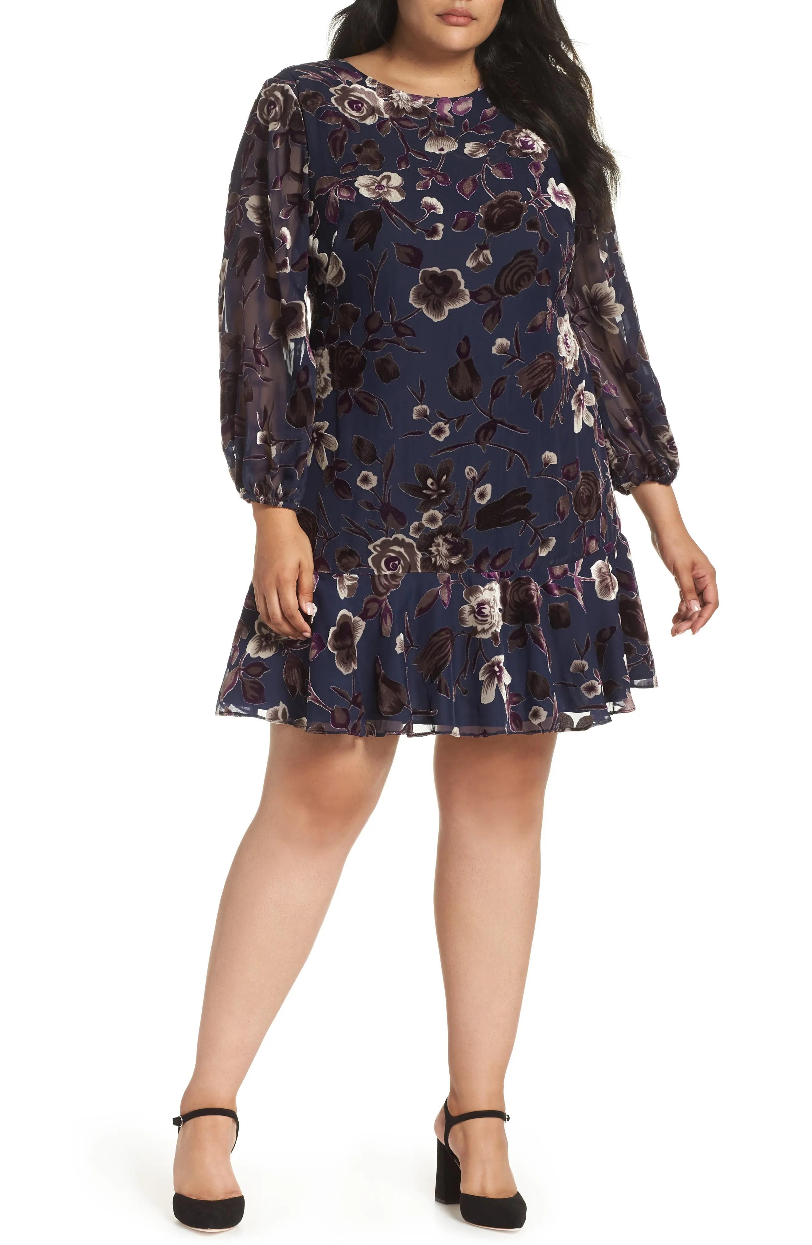 Eliza  ruffle hem shift dress plus size also women   dresses nordstrom rh shoprdstrom