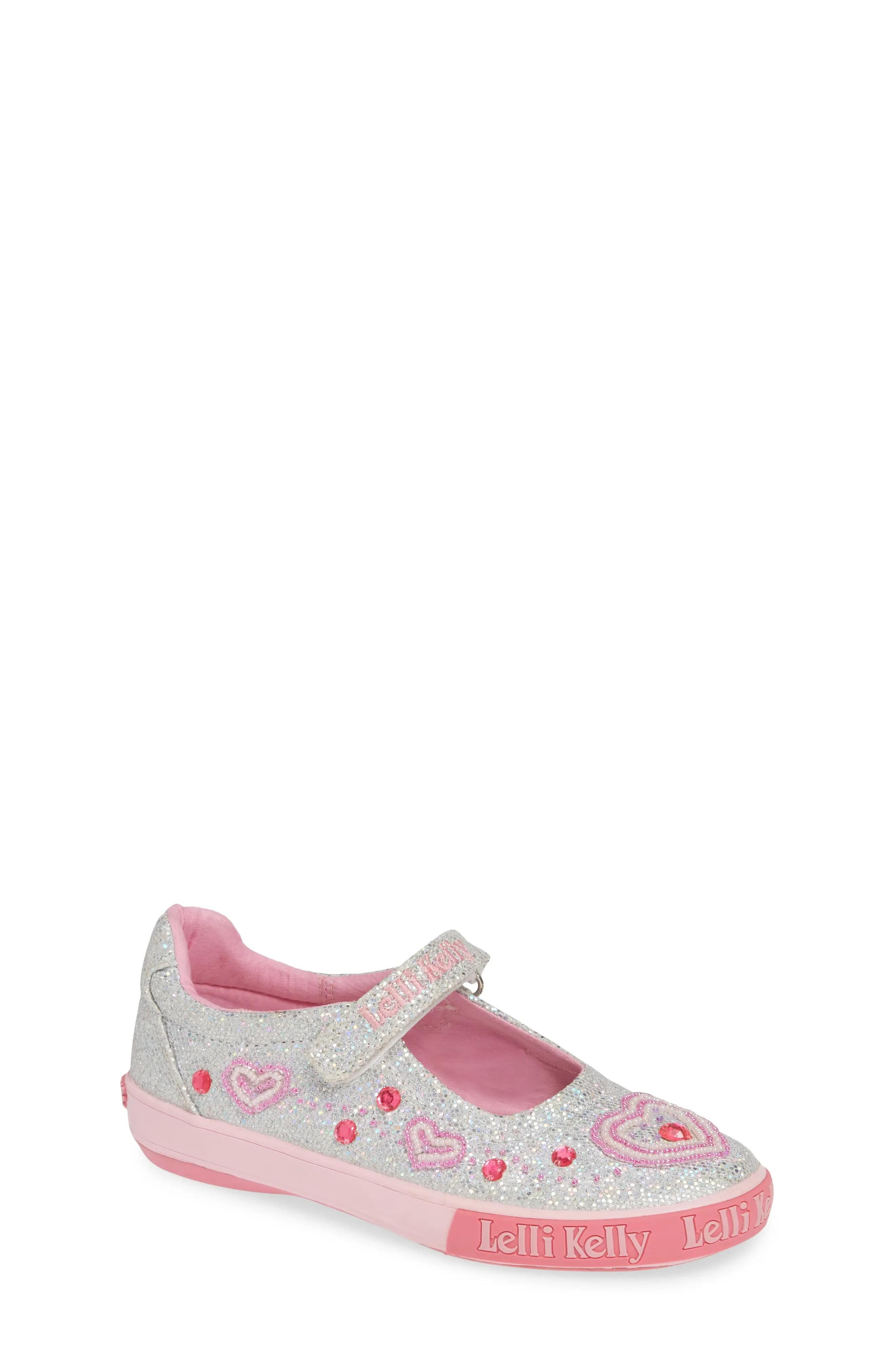 Lelli kelly beaded heart glitter mary jane sneaker toddler little kid  big also girls shoes sizes nordstrom rh shoprdstrom