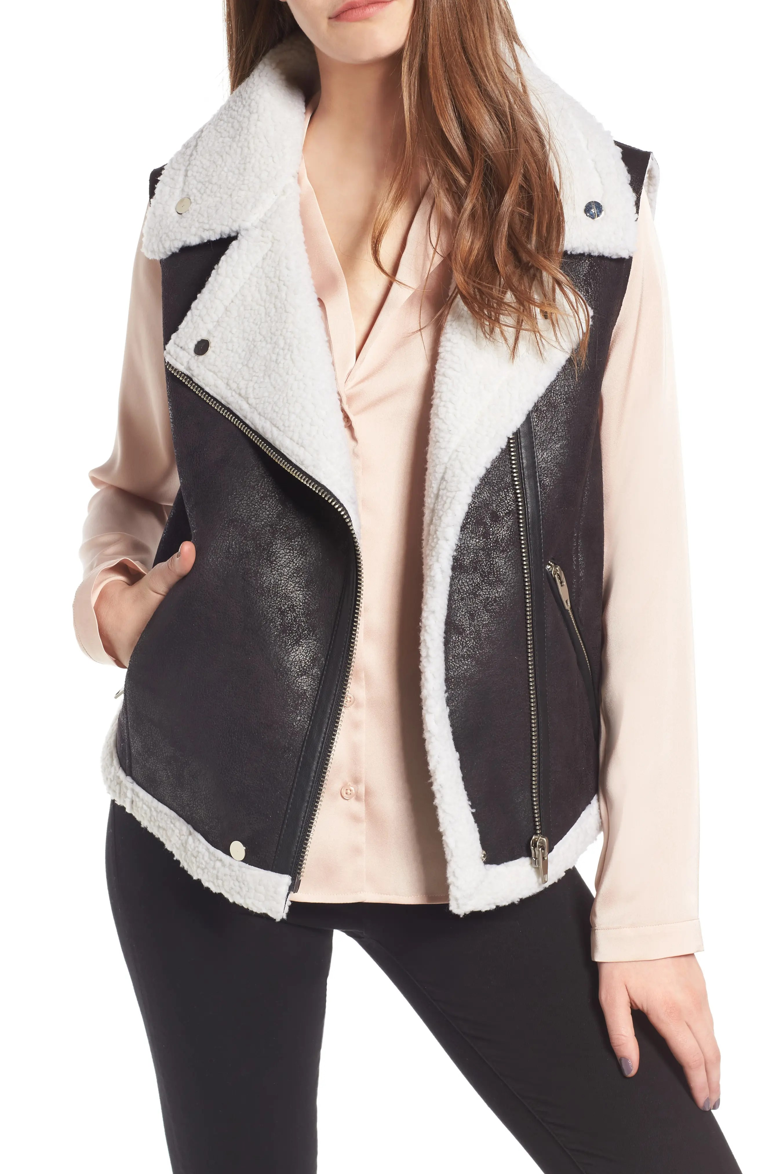 Main Image - Love Token Faux Shearling Moto Vest